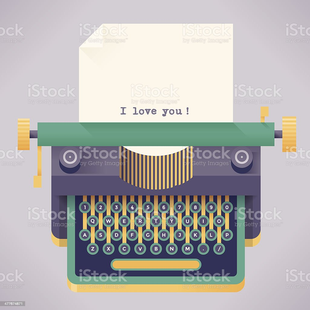 Vintage typewriter with I love you! text royalty-free stock vector art