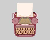 Vintage typewriter with paper sheet or page inside isolated on gray background. Mechanical desktop machine for writing, journalism, publishing, secretary work. Flat cartoon vector illustration.