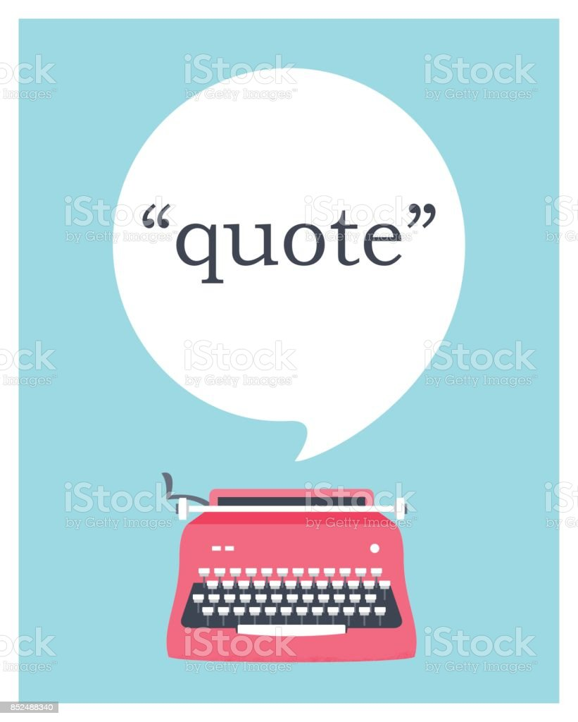 Vintage Typewriter with Speech Bubble Space for Quote. Vector Design vector art illustration