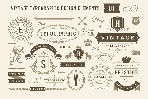 Vintage typographic design elements set vector illustration