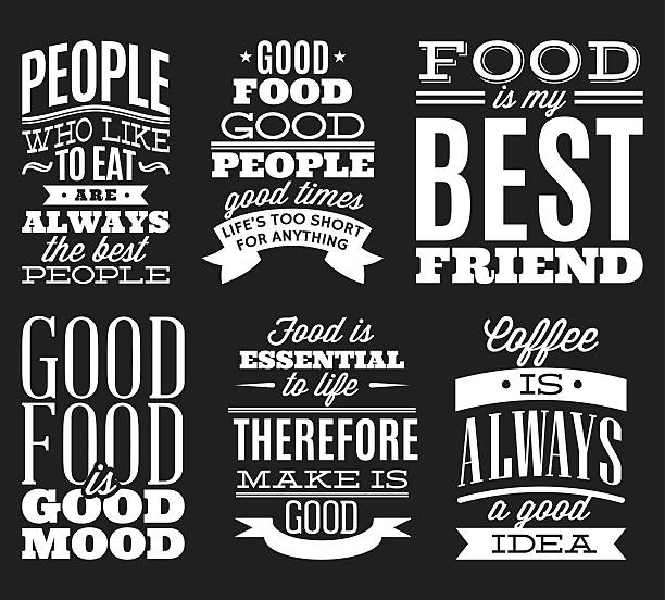 vintage typographic food quotes to the menu or t-shift - cytat tekst stock illustrations