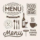 Hand drawn menu elements