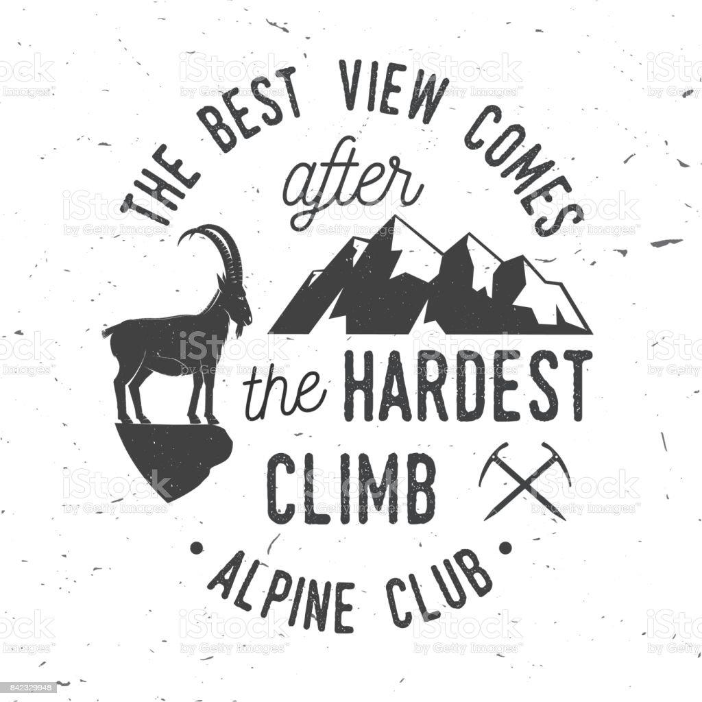 Conception de typographie vintage avec piolet, silhouette chèvre et montagne escalade - Illustration vectorielle
