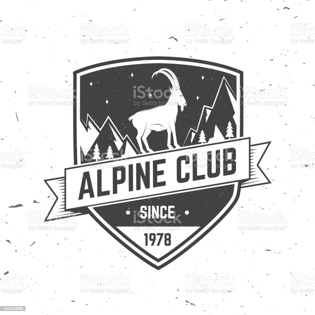 Conception de typographie vintage avec piolet, escalade de chèvres et la silhouette de la montagne - Illustration vectorielle