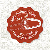 Rock Climbing club badge. Vector. Concept for shirt or icon, print, stamp or tee. Vintage typography design with knot for quickly tying a climbing rope and carabiner. Extreme adventure