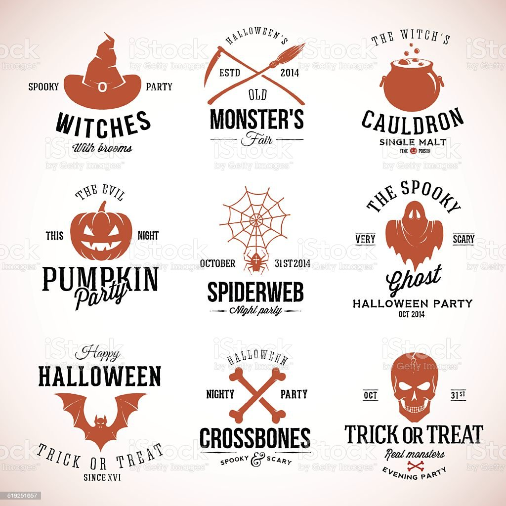Vintage Typography Halloween Vector Badges or Logos Pumpkin Ghost Scull vector art illustration