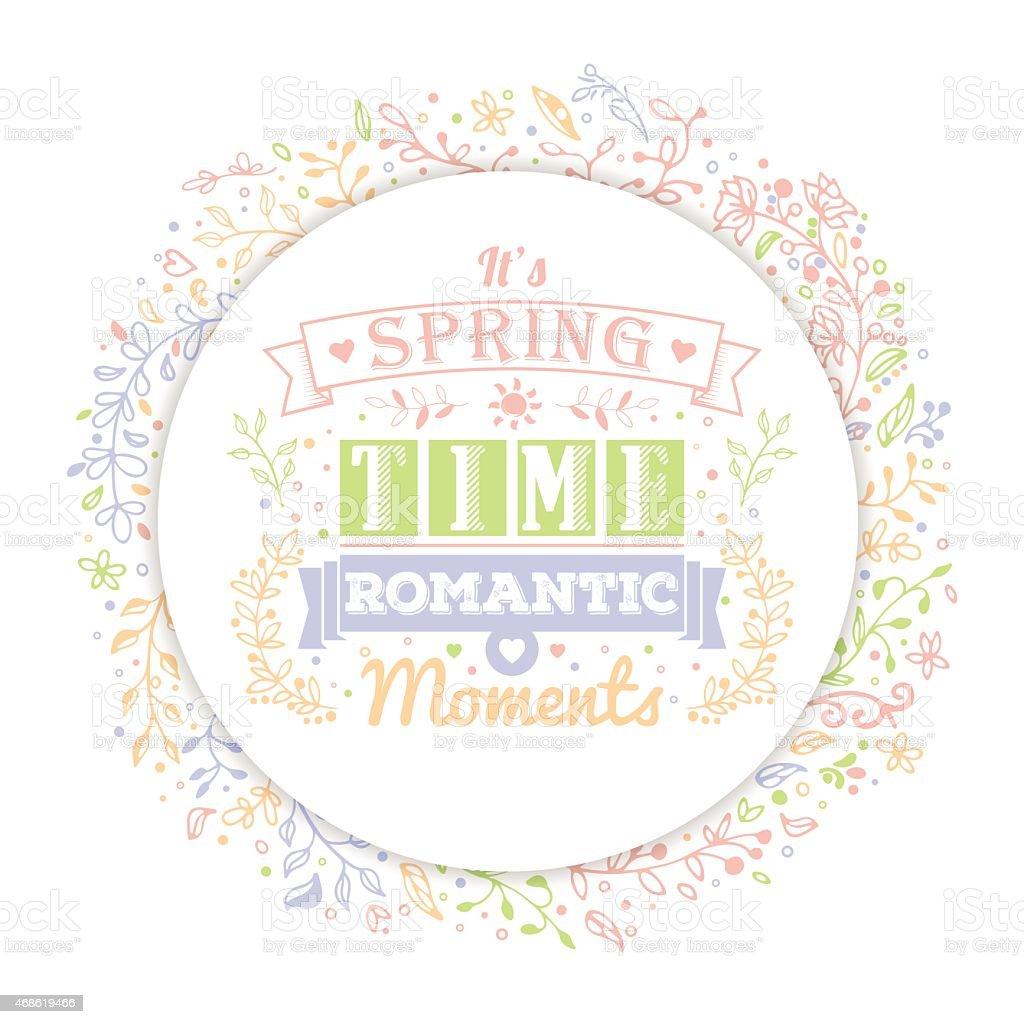 Ilustracion De La Tipografia Vintage Primavera Flores Letras Y
