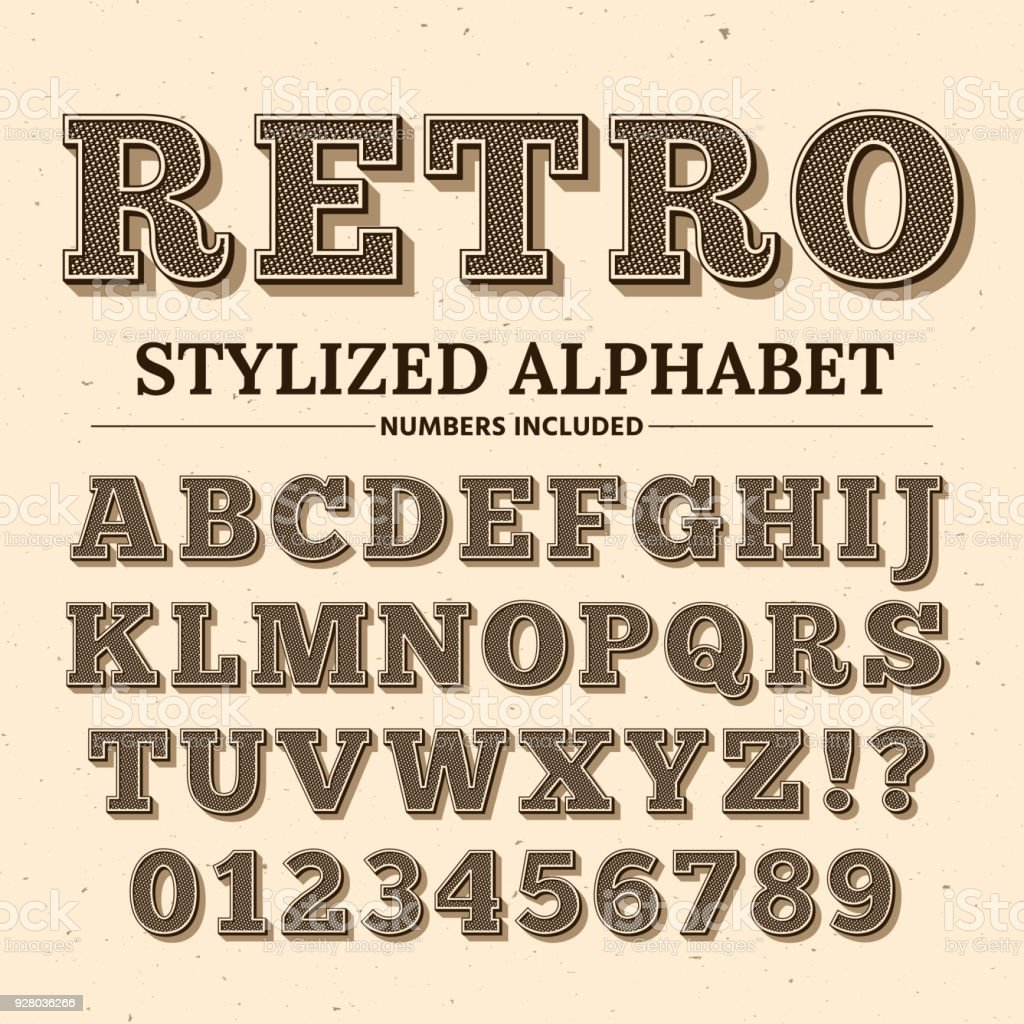 Vintage typography vector font. Decorative retro alphabet. Old western style letters and numbers vector art illustration