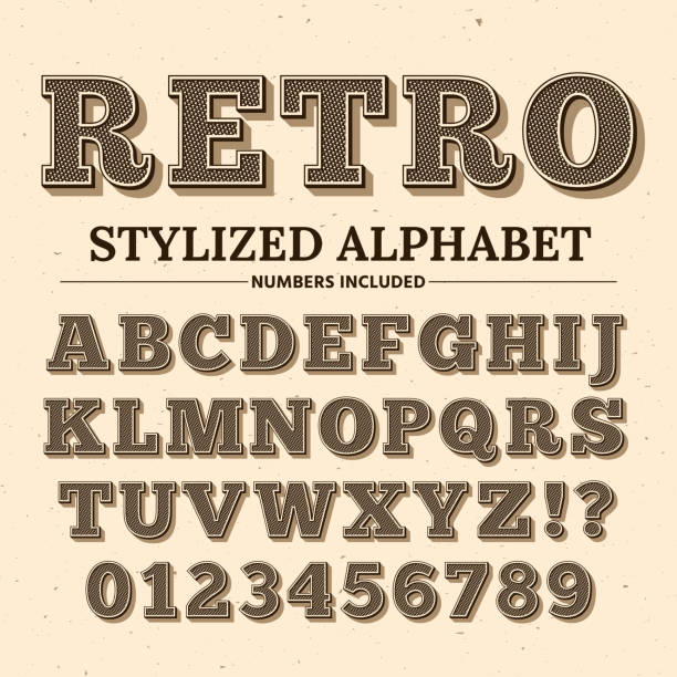 vintage typography vector font. decorative retro alphabet. old western style letters and numbers - alphabet borders stock illustrations