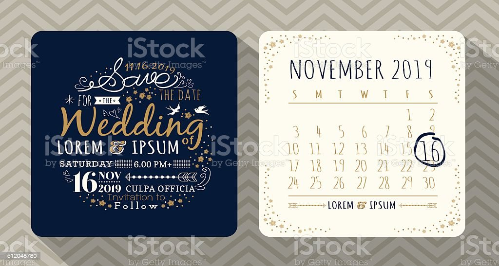 Typographie Vintage mariage Carte d'invitation - Illustration vectorielle