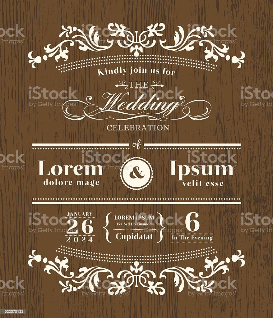 Vintage typography Wedding invitation design template on wooden background vector art illustration