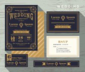 vintage typography wedding invitation frame set Template Vector place card response card save the date card