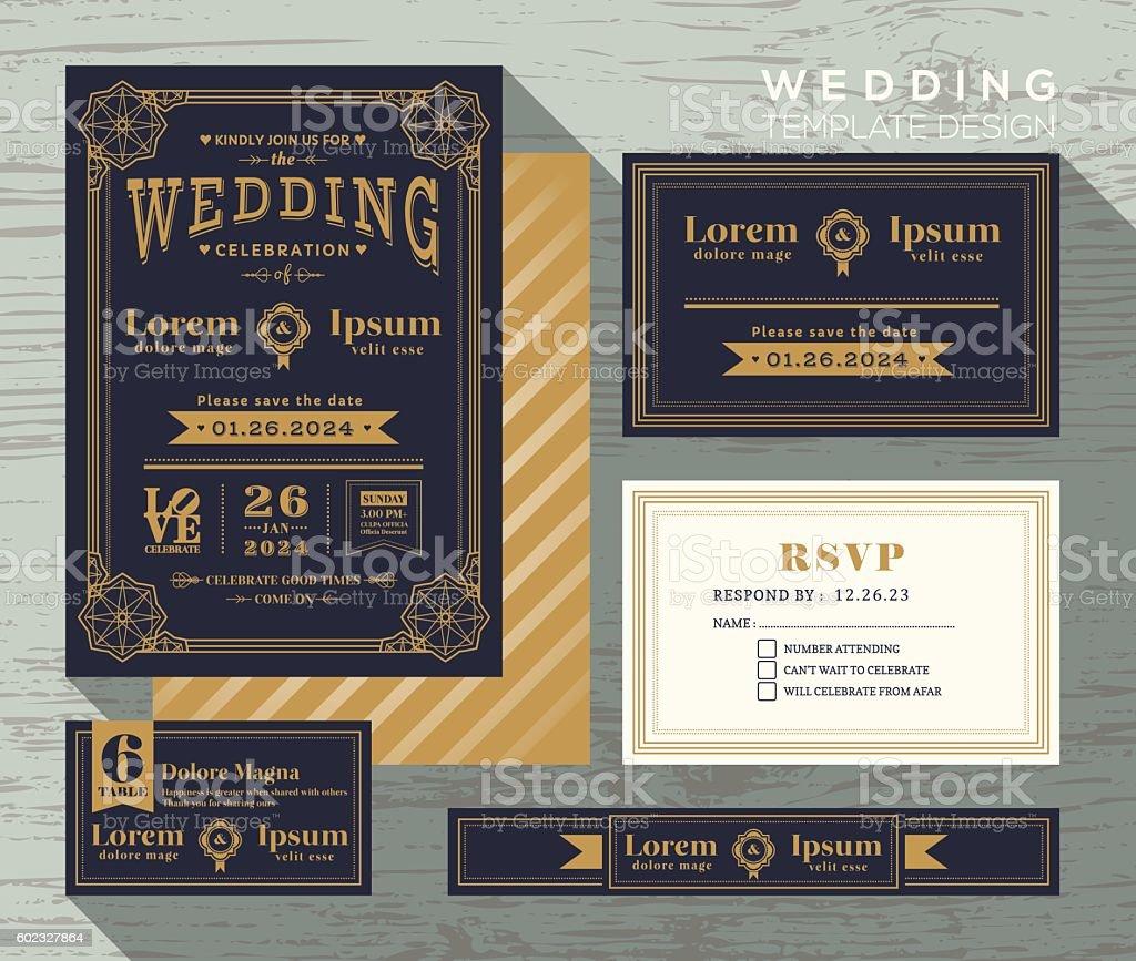 vintage typography wedding invitation frame set Template vector art illustration