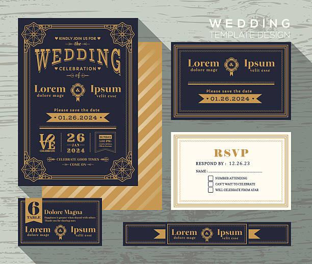 vintage typography wedding invitation frame set template - wedding invitation stock illustrations, clip art, cartoons, & icons