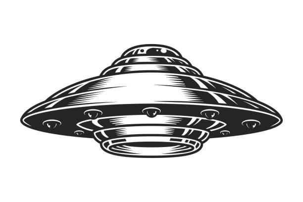 stockillustraties, clipart, cartoons en iconen met vintage ufo ruimteschip concept - ufo