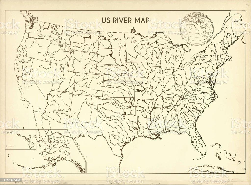 Vintage United States River Map Auf Retropapierhintergrund ...