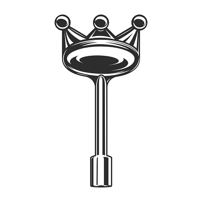 Vintage universal gas valve key with crown for pipeline fireplace lock in construction piping in monochrome style isolated illustration.