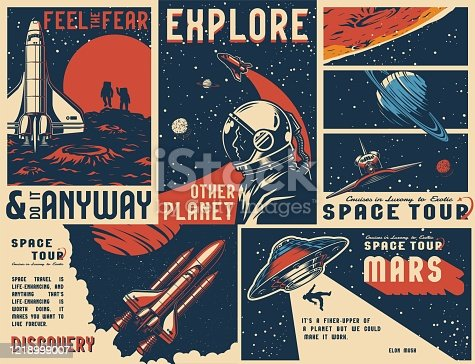 Vintage universe posters collection with text astronaut in outer space flying shuttles man abduction by UFO on cosmic backgrounds vector illustration