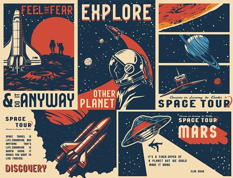 Vintage universe posters collection