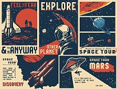 istock Vintage universe posters collection 1218999007