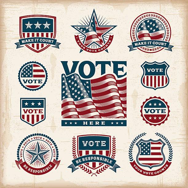 wybory w usa-vintage etykiety i odznaki zestaw - us flag stock illustrations