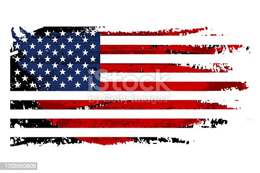 istock Vintage USA flag illustration. Vector American flag on grunge texture. 1205550609
