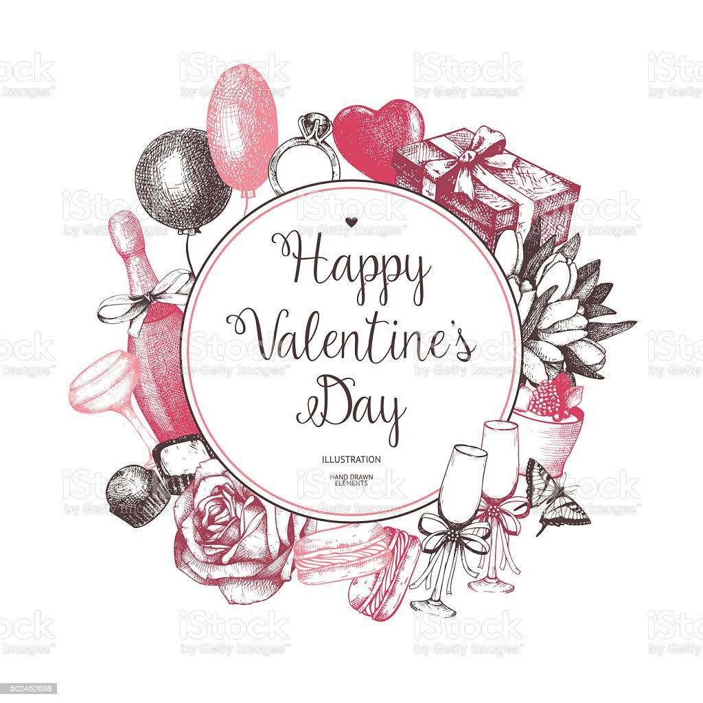 Vintage Valentines Day Background Stock Vector Art More Images Of