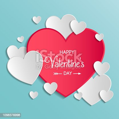 istock Vintage Valentine's Day card with cute paper cut hearts. Vector 1098376998