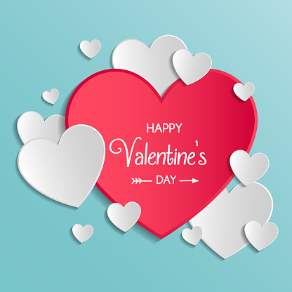 Vintage Valentine's Day card with cute paper cut hearts. Vector