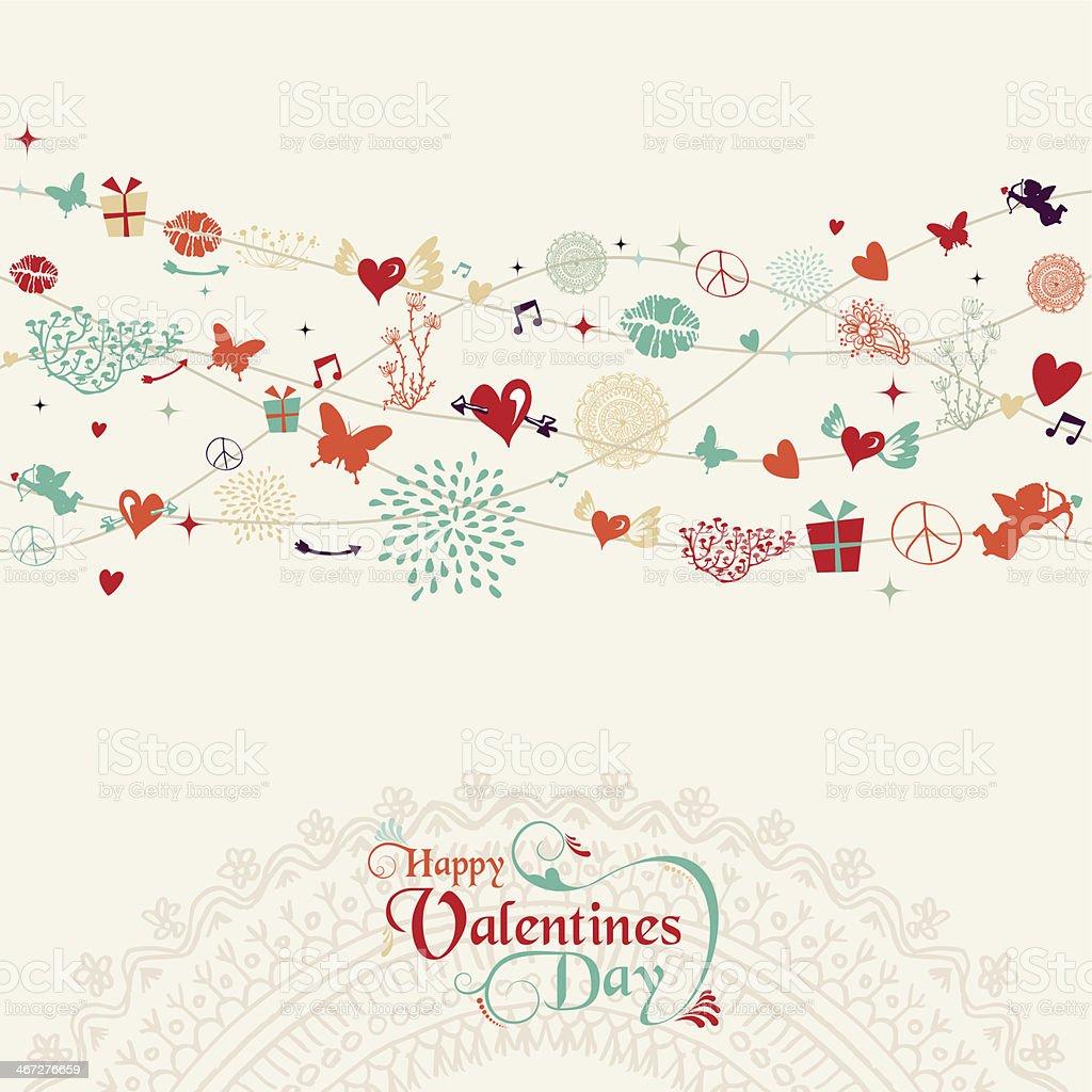Vintage Valentine`s day postcard design vector art illustration