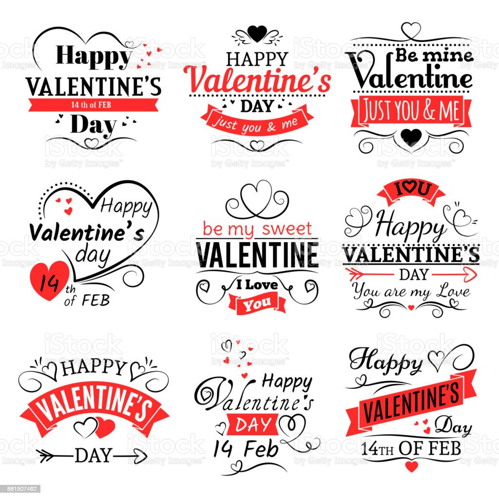 Vintage Valentines Day Vector Banners For Love Greeting Card Stock