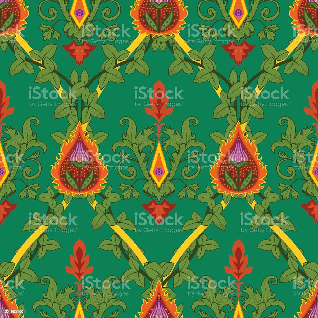 Vintage variegated seamless pattern ivy and fire flower vector art illustration