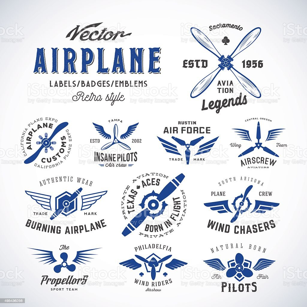 Vintage Vector Airplane Labels Set with Retro Typography. Isolated vector art illustration