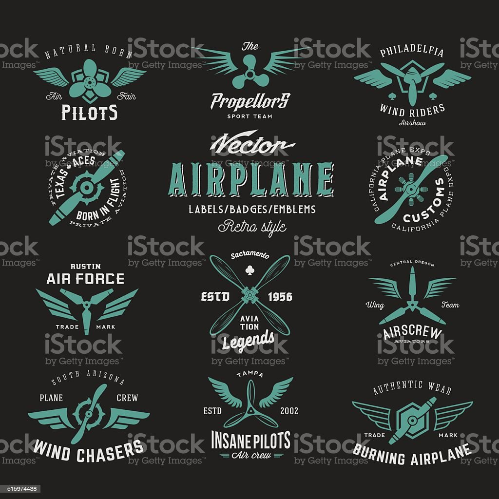 Vintage Vector Airplane Labels Set with Retro Typography. Shabby Texture vector art illustration