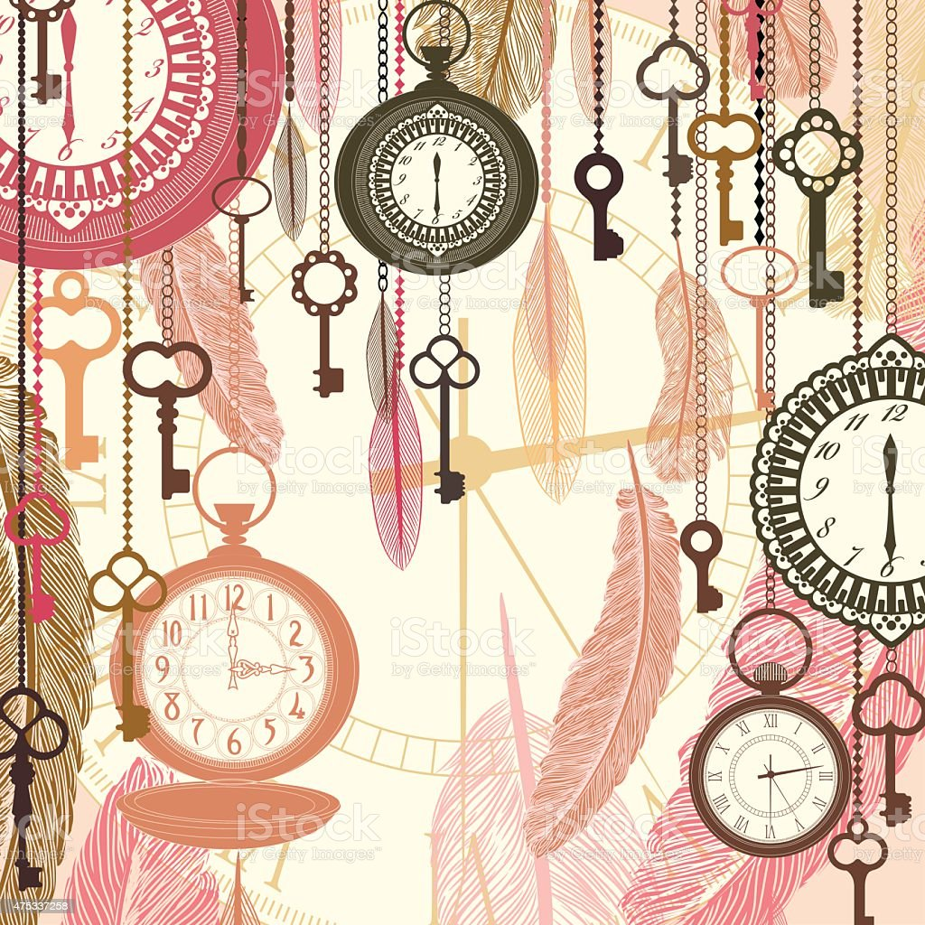 Vintage vector background with pocket watches and feathers vector art illustration