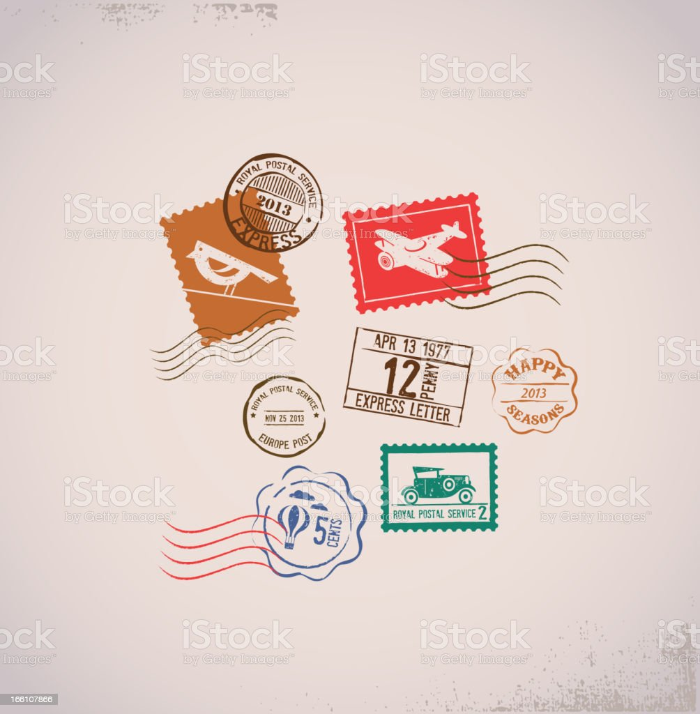 Vintage vector background with rubber stamps royalty-free stock vector art