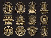 Vintage vector beer labels on black background. Beer label brewery, alcohol drink beverage illustration