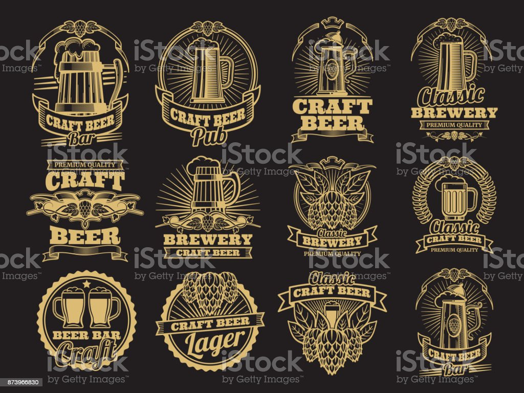 Vintage vector beer labels on black background vector art illustration