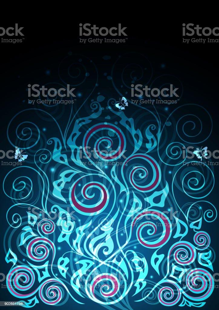 Vintage vector blue floral background illustration