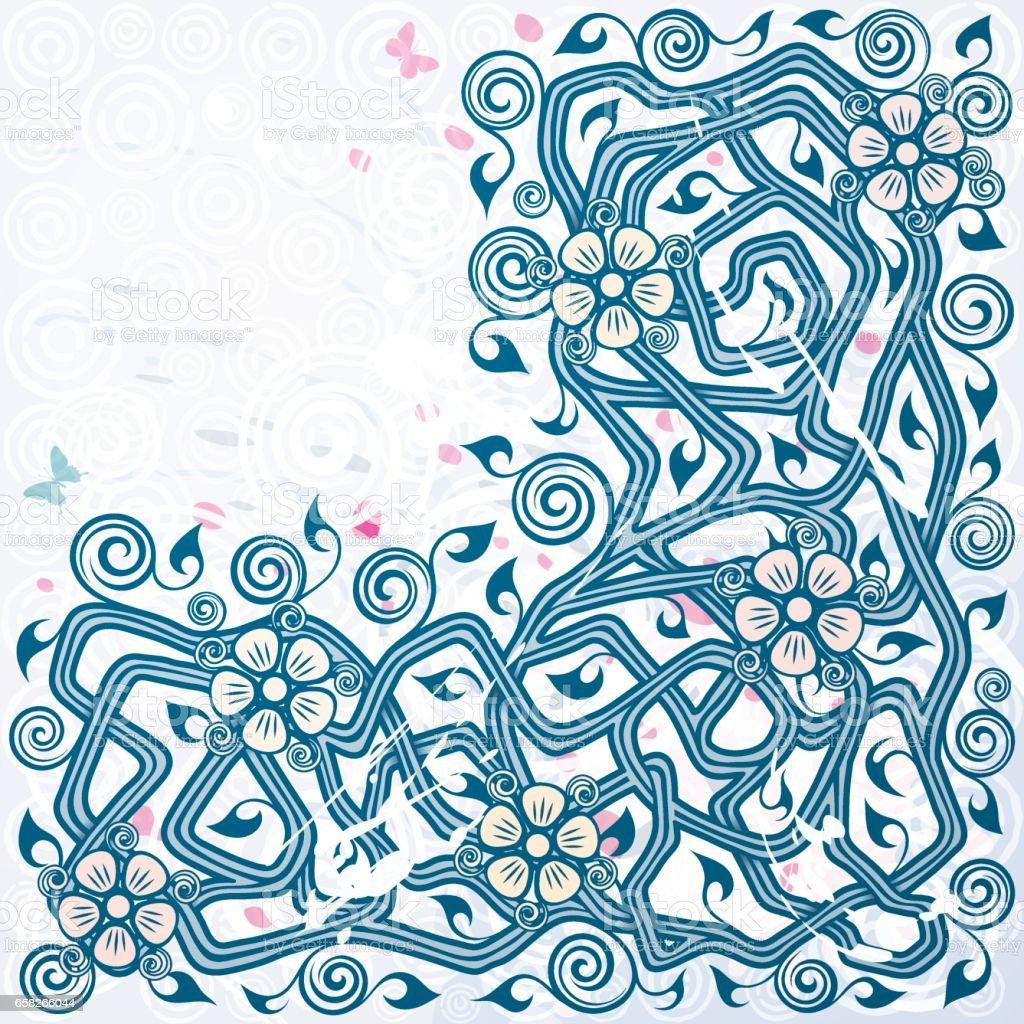 Vintage vector blue floral background vector art illustration