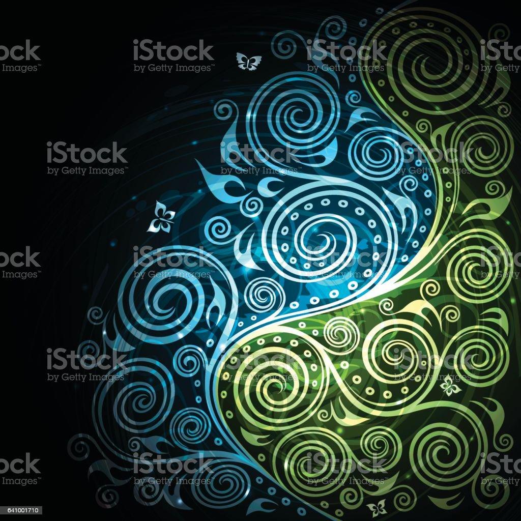 Vintage vector blue green floral background illustration vector art illustration