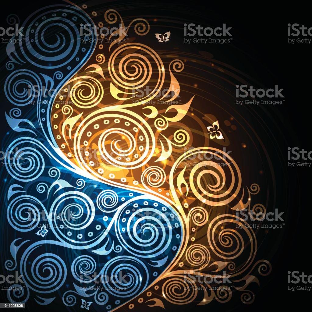 Vintage vector blue-gold floral background illustration vector art illustration