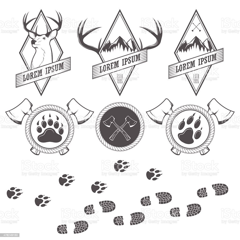 Vintage vector camping labels, badges and design elements