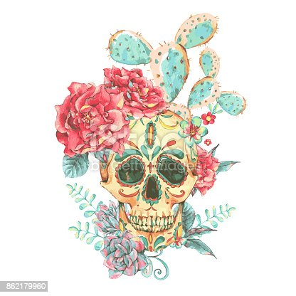 Vintage vector card with skull and roses