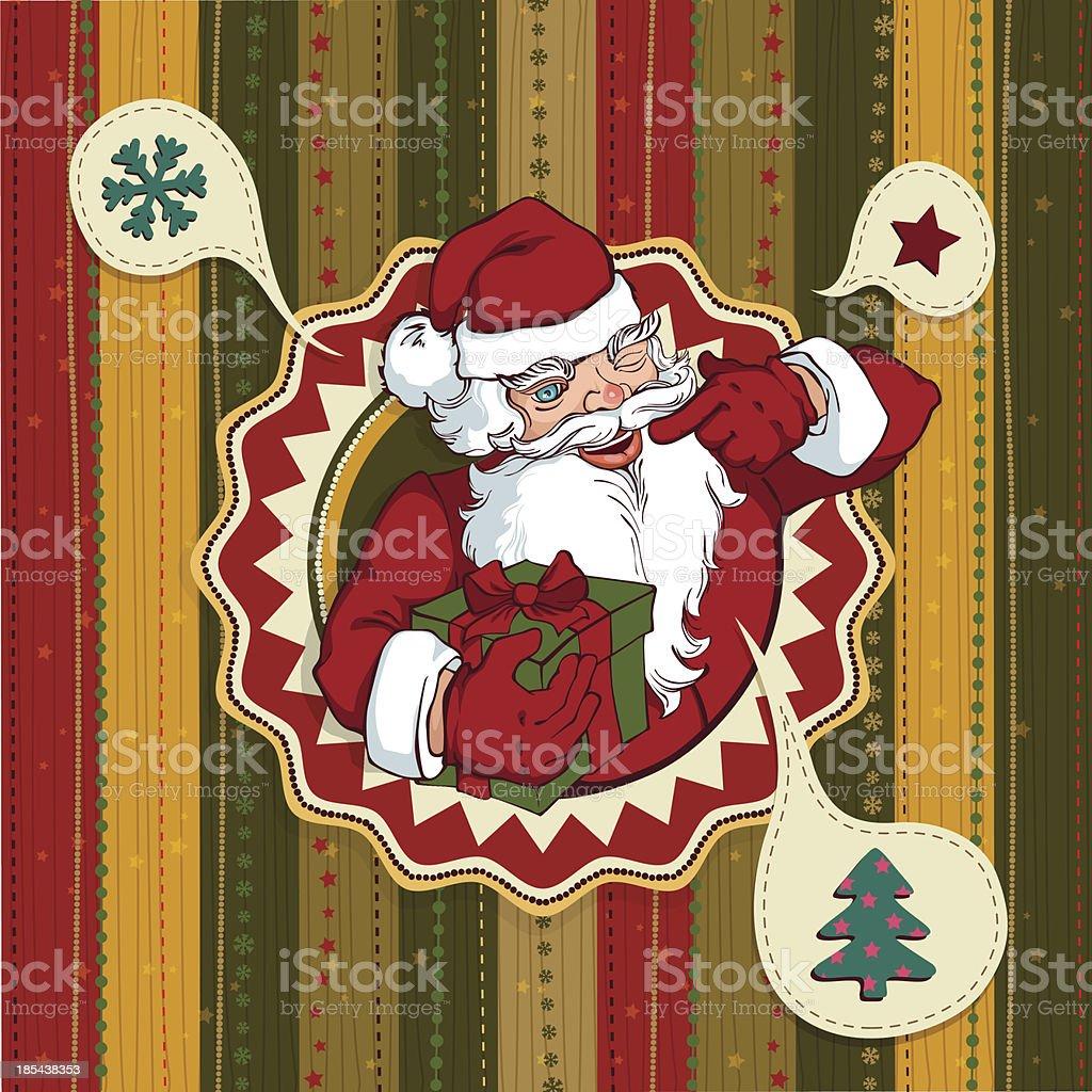 Immagini Babbo Natale Vintage.Vettoriale Vintage Cartolina Di Natale Con Babbo Natale