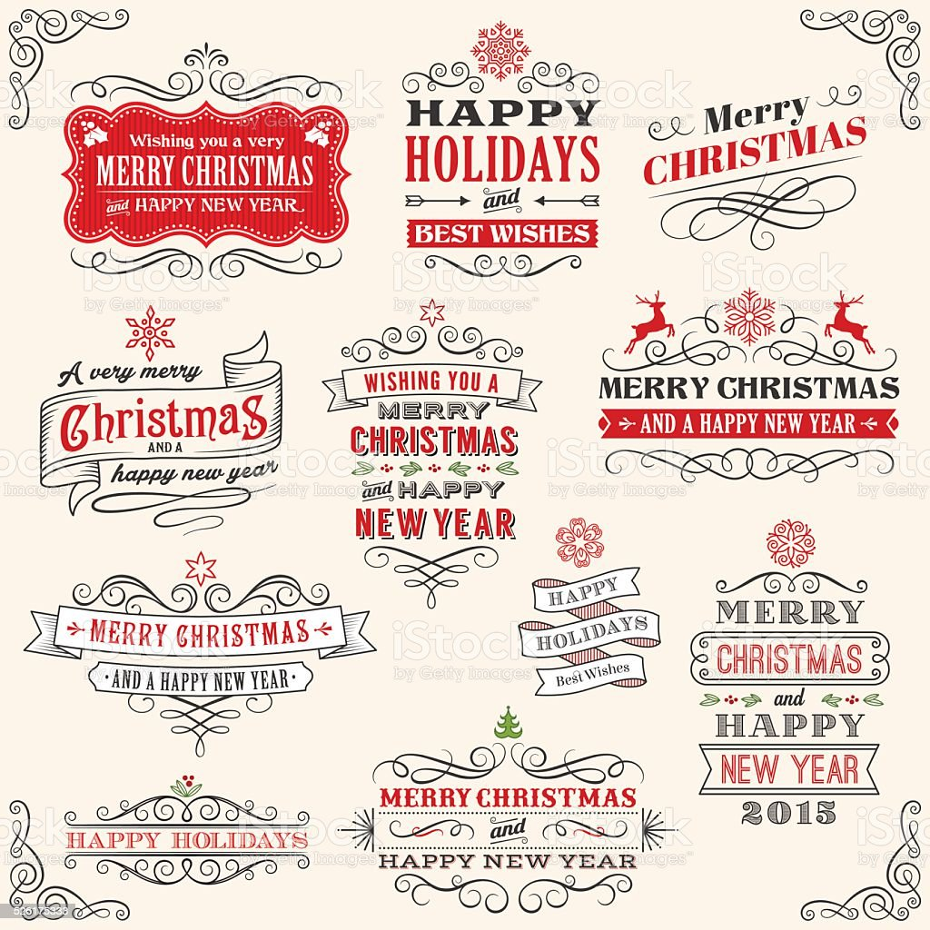 Download Christmas Labels With Santa Claus Stock Illustration