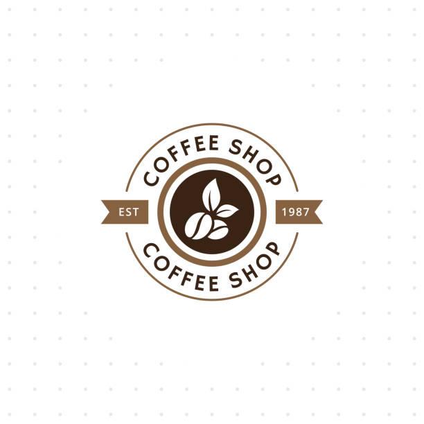 vintage vektor kaffee-emblem und label - café stock-grafiken, -clipart, -cartoons und -symbole