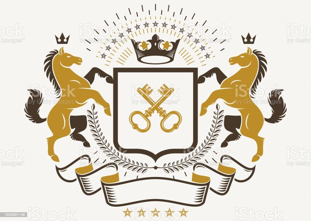 Elemento de desenho de vetor vintage. Rótulo de estilo retro, composto com o gracioso horse ilustração, chaves de segurança e coroa, - ilustração de arte em vetor