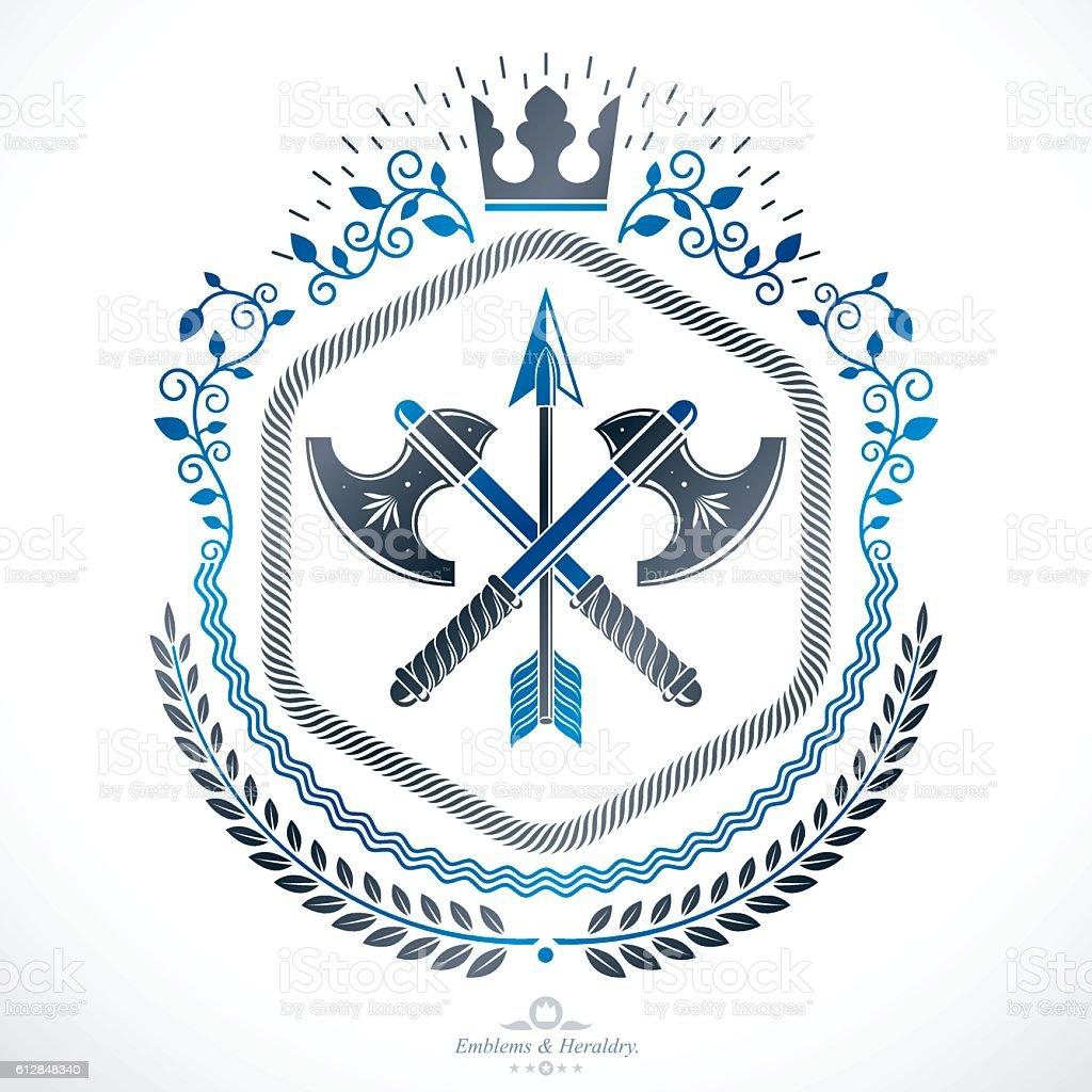 Vintage vector design element. Retro style label, heraldry. - ilustração de arte em vetor