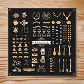 Vintage vector design elements on wooden background.